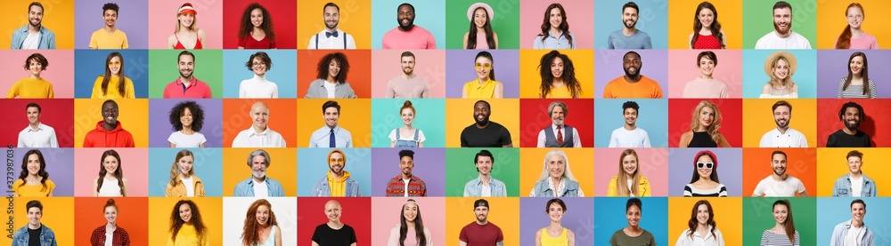 Fototapeta Photo set collage of faces of multiethnic happy fun smiling people, men and women group different ages wearing casual clothes isolated on colorful background studio portraits. Human facial expressions