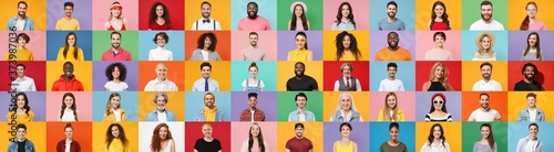 Fotomural Photo set collage of faces of multiethnic happy fun smiling people, men and women group different ages wearing casual clothes isolated on colorful background studio portraits