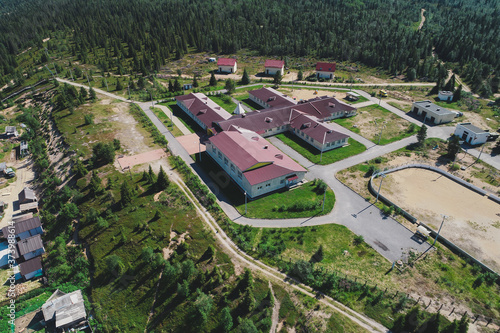 Obraz na plátně Aerial Townscape of Village Varzuga located in Northwestern Russia on the Kola P