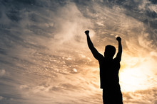 Strong Confident Man With Fist Up To The Sky. Winning Mindset Concept.