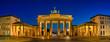 canvas print picture - Panoramablick auf das Brandenburger Tor in Berlin zur blauen Stunde