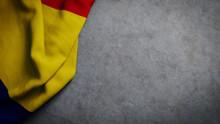 Flag Of Romania On Concrete Ba...
