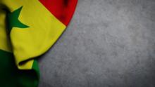 Flag Of Senegal On Concrete Ba...