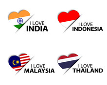 Set Of Four Indian, Indonesian, Malaysian And Thai Heart Shaped Stickers. I Love India, Indonesia, Malaysia And Thailand. Made In India, Made In Thailand. Simple Icons With Flags