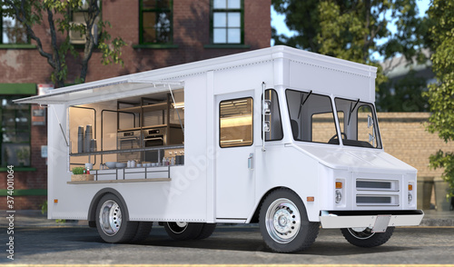 White Realistic Food Truck With Detailed Cozy Interior With Warm Light On Street. Modern Cityscape. Takeaway Food And Drinks. 3d rendering.