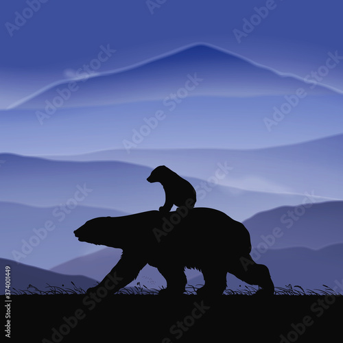 Obraz Polar bears family walking in grass. Animal baby silhouette on back of mother at dusk. Background with mountain foggy landscape. Vector illustration for use in polygraphy, design, nursery decor - fototapety do salonu