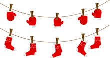 Winter Christmas And New Year Element, Vector  With Red Mittens And Socks On Clothesline With Clothespins, Illustration