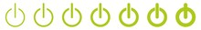 Power Button Icon Green Line |...