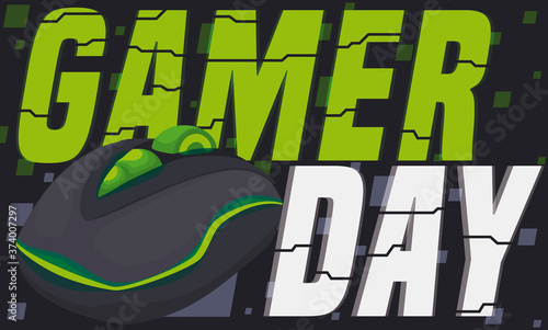 Foto Green Glowing PC Mouse ready for Gamer Day Celebration, Vector Illustration
