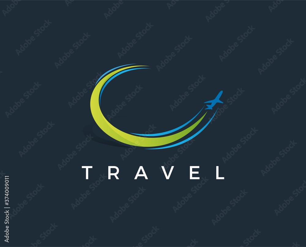 Fototapeta minimal travel logo template - vector illustration