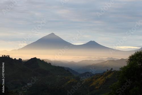 Obraz na plátně Muhavura and Gahinga Volcanoes