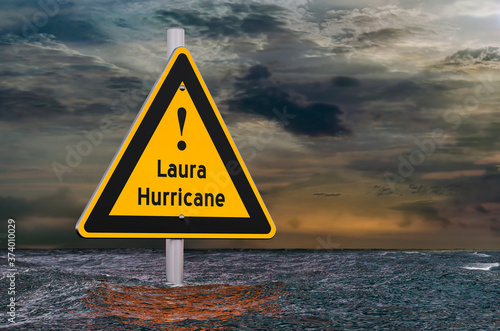 Photo Hurricane Laura, storm and flood concept. 3D rendering