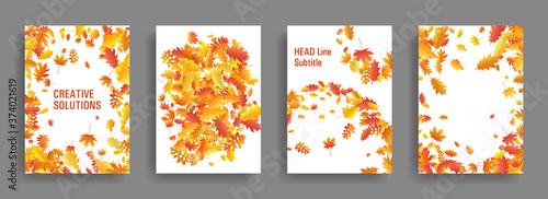 Fotografia Yellow orange red dry autumn leaves flying organic backdrops.