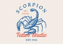 Insect Logo. Vintage Scorpion Label For Bar Or Tattoo Studio. Emblems Badges, T-shirt Typography. Engraved Vector Illustration.
