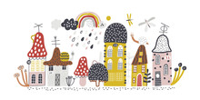 Small Forest Village. Childish Vector Illustration With Mushrooms, Houses, Snails, Butterflies And Rainbow. Design For Poster, Card, Bag And T-shirt, Cover. Baby Style.
