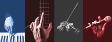 Four Parts Of Musician Hands Playing Musical Instrument. Music Background