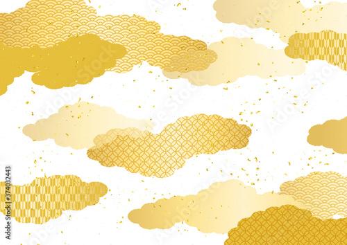 和風の雲柄背景素材 Canvas Print