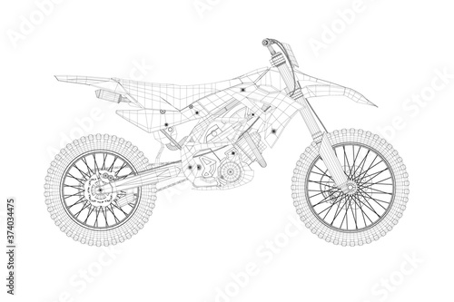 Wireframe of a sports motorcycle from black lines on a white background. Side view. 3D. Vector illustration
