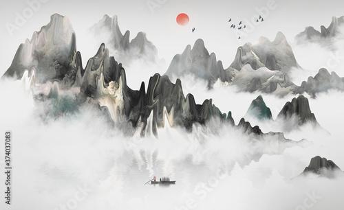 Fototapeta 中国风意境山水风景画