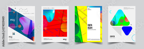 Obraz Modern abstract covers set. Cool gradient shapes composition, vector covers design. - fototapety do salonu
