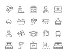 Large Collection Of Black And White Hotel Icons For Phone, Wi-fi, TV, Room Service, Porter, Reception, Pool, Restaurant And Accommodation Accessories, Vector Design Elements