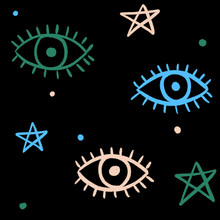 Abstract Evil Eye And Pentagra...