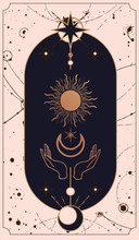 Moon And Sun Tarot Cards, Hands Set In Simple Flat Esoteric Boho Style. Background - Template Design For Poster, Banner, Social Media Post.