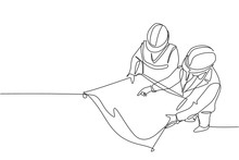 Single Continuous Line Drawing Of Young Company Manager Do Quality Control To Sketch Draft Blueprint Design. Building Architecture Business Concept. One Line Draw Vector Graphic Design Illustration
