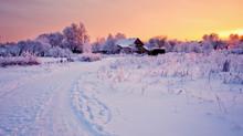 Beautiful Winter Landscape With Snow At Sunset