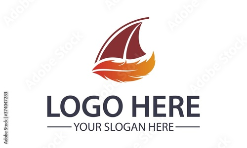 Fototapeta red feather sail yacht logo icon design