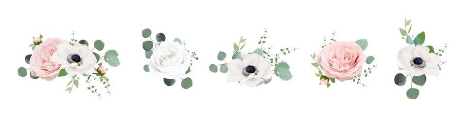 Vector floral bouquet design: Ivory white & blush peach powder peony Rose flower, anemone, Eucalyptus branch green sage leaves watercolor style illustration. Wedding invite card  designer elements set
