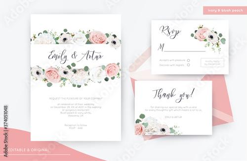 Fototapeta Wedding invite, invitation, rsvp, thank you card floral watercolor design