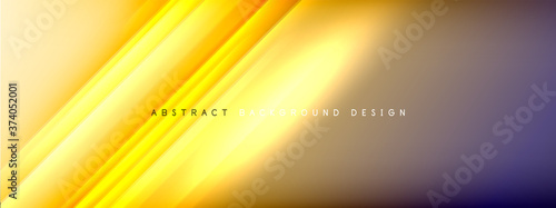 Fotografiet Motion concept neon shiny lines on liquid color gradients abstract backgrounds