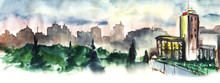 Watercolor Blurred City Landsc...