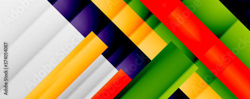 Fotomural Geometric abstract backgrounds with shadow lines, modern forms, rectangles, squares and fluid gradients