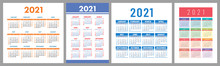 Calendar 2021 Year Set. Vector...