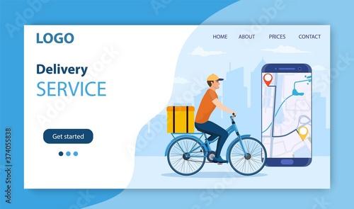 Obraz na plátně Online delivery service concept, online order tracking, delivery home and office