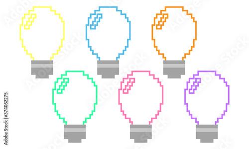 Tela ピクセル 電球 カラフル  ひらめき  アイコン pixel art light bulb ideas icon
