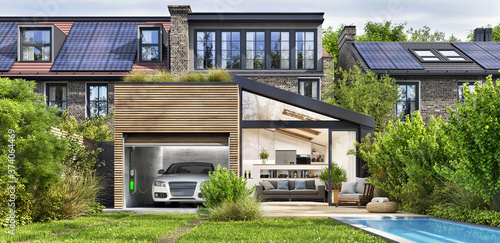 Modern house with rooftop solar panels and electric car Fototapeta