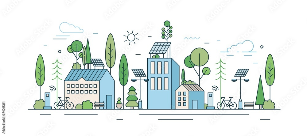 Fototapeta Cityscape with modern eco friendly technology vector illustration in line art style. Municipal area with ecology transport, wi-fi zone, natural park and solar energy equipment isolated on white