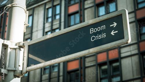 Photo Street Sign Boom versus Crisis