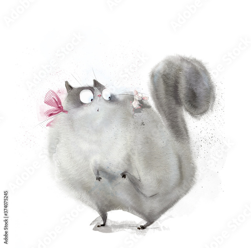cute lovely fluffy kat with mouse Poster Mural XXL
