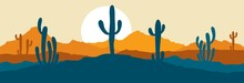 Abstract Landscape With Cactus / Vector Illustration, Narrow Background, Twilight In Mexico