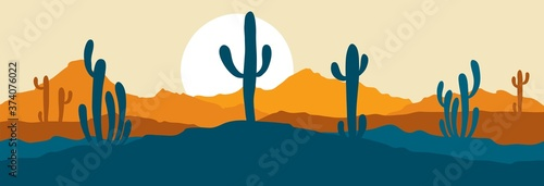 Fotografie, Tablou Abstract landscape with cactus / Vector illustration, narrow background, twiligh