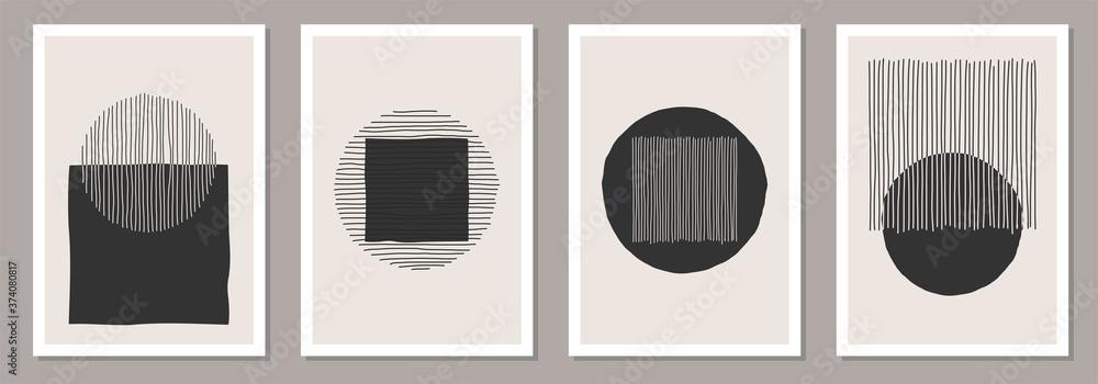 Fototapeta Trendy set of abstract creative minimalist artistic hand drawn compositions