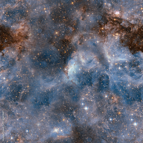 Cosmic fabric seamless pattern. Blue abstract Fotobehang