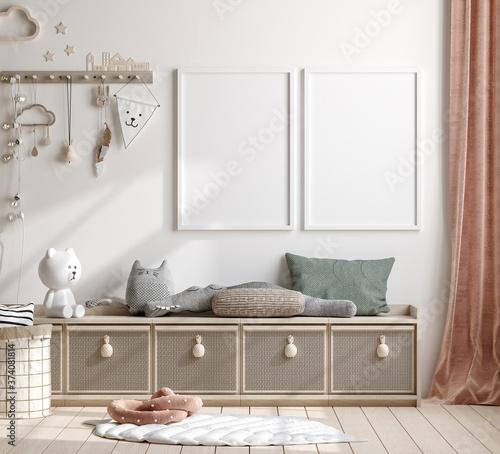 Mock up frame in children room with natural wooden furniture, 3D render Slika na platnu