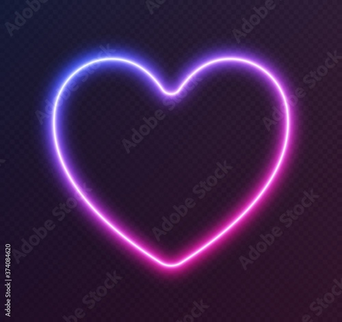 Photographie Gradient neon heart, blue-pink glowing border isolated on a dark background