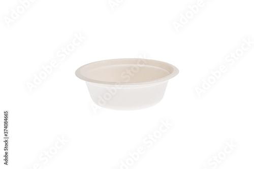 Fotografie, Tablou Ciotola compostabile in cellulosa fotografata su sfondo bianco
