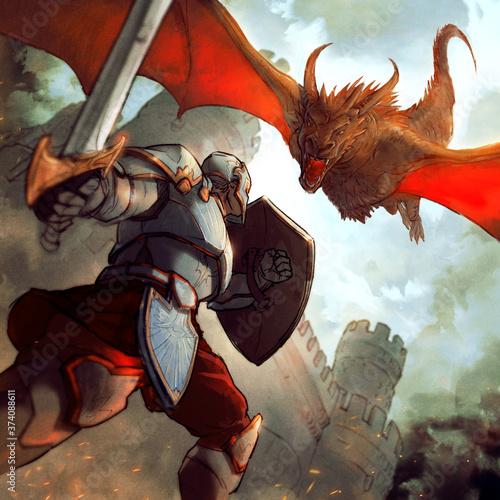 Papel de parede chevalier avec une épée combattant un dragon devant un château